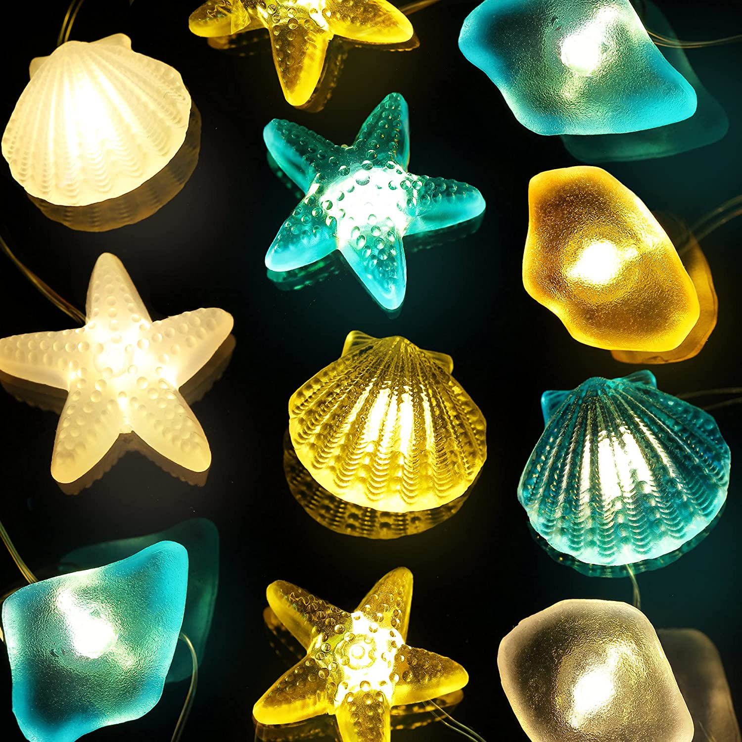 Sea Beach Seashell String Lights, 10 Ft 30 LEDs Nautical Ocean Theme Fairy Light Decor, Shell Starfish Sea Glass USB with Remote Timer for Fish Net Mermaid Birthday Party Baby Shower Decorations