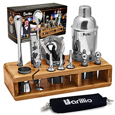 Elite 23-Piece Bartender Kit Cocktail Shaker Set by BARILLIO: Stainless Steel Bar Tools With Sleek Bamboo Stand, Velvet Carry Bag & Recipes Booklet   Ultimate Drink Mixing Adventure