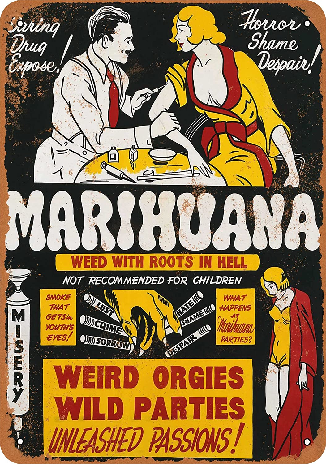 Wall-Color 7 x 10 Metal Sign - 1936 Marijuana Weed Roots in Hell - Vintage Look Reproduction