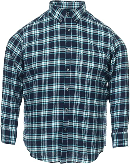John Ashford Mens Green Window Pane Button Down Shirt