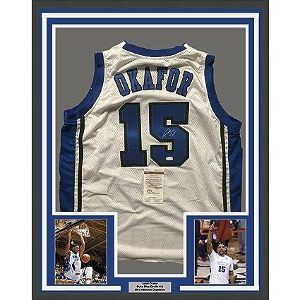 5932d8e045a1 Framed Autographed Signed Jahlil Okafor 33x42 Duke White College Basketball  Jersey JSA COA