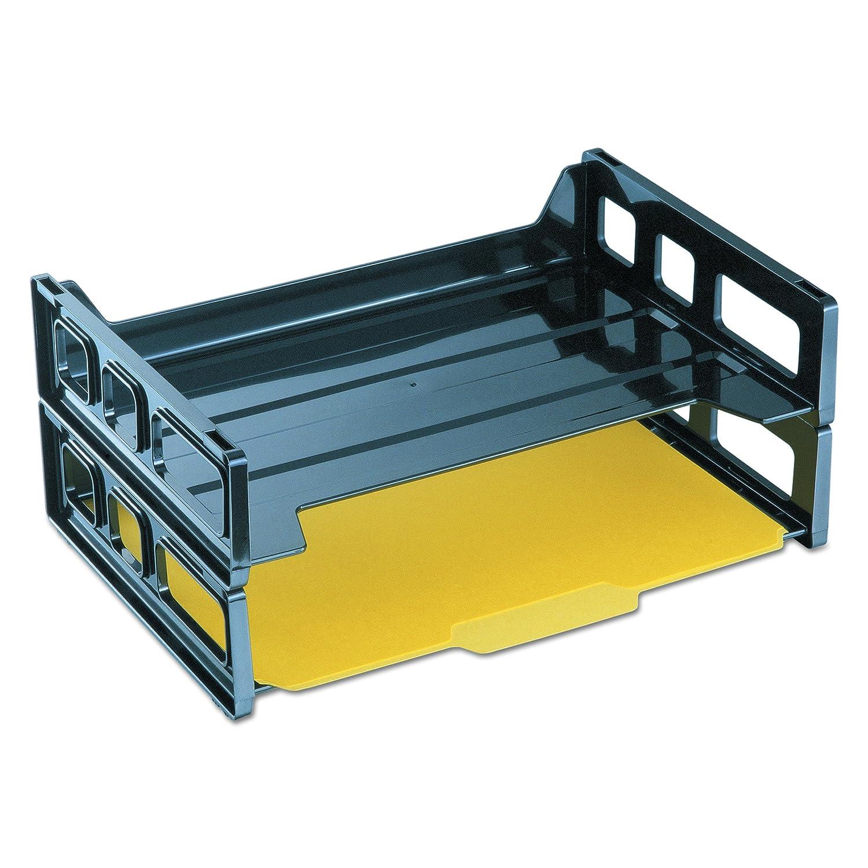 Plastic Two Tier Universal 08100 Side Load Letter Desk Tray Black