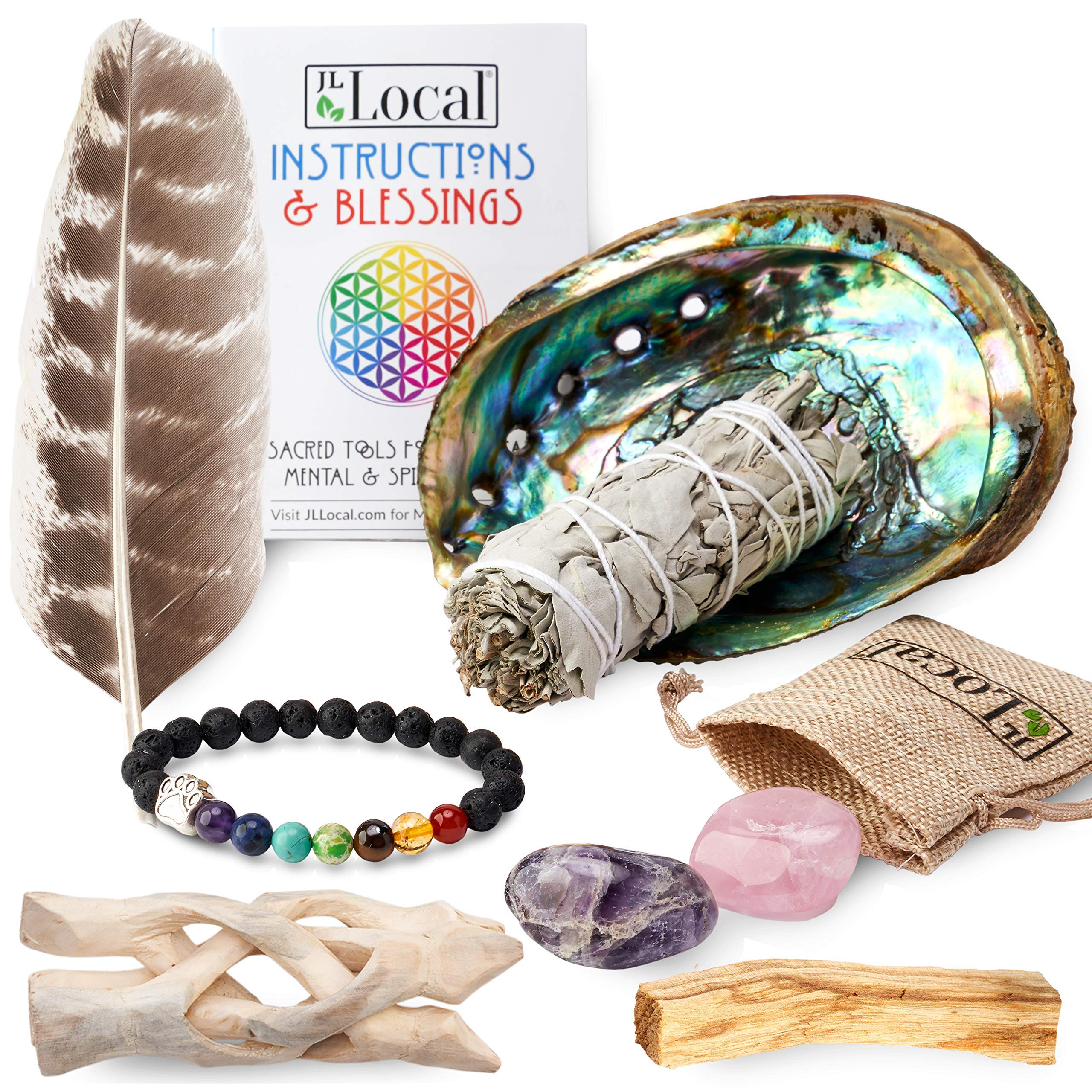 JL Local Chakra Smudging Kit - 10 Items Including White Sage Smudge Sticks, Palo Santo, Amethyst, Rose Quartz, Abalone Shell, Stand & Gift by JL Local (Image #4)