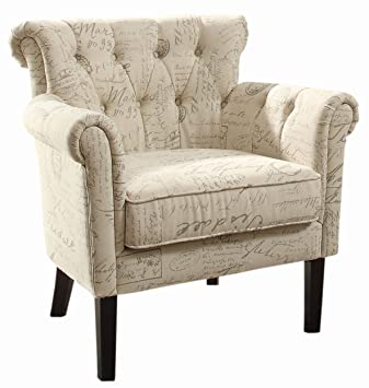 Awesome Homelegance Barlowe Vintage Print Fabric Accent Chair Beige Theyellowbook Wood Chair Design Ideas Theyellowbookinfo