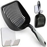"Sifter with Deep Shovel - Designed by Cat Owners - Non Stick Plated, Antimircrobial, Solid Aluminum. ""Perfect Scooper"" with Holder. Solid Core Handle. By iPrimio. Patented. Black"