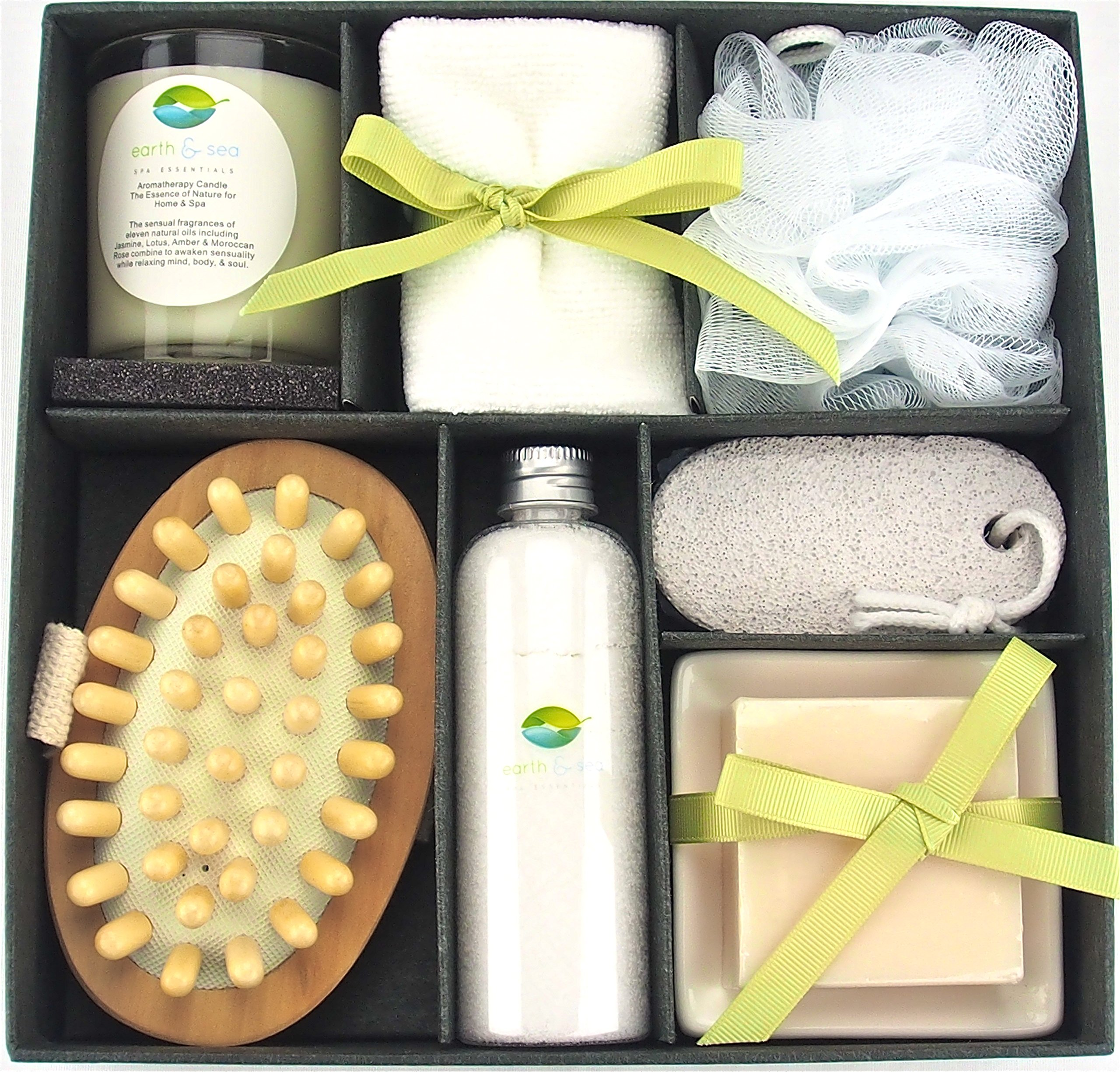 Earth & Sea Spa Essentials Bath Set-Soy Wax Candle, Cotton Bath Cloth, Exfoliating Sponge, Pumice Stone, Wooden Massager Brush, Salts, Bath Soap-Green Gift Set