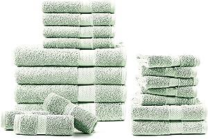 100% CombedCotton 600 GSM18-Piece Jade Bath Towels Set,Fluffy Bath Towels, Absorbent,Hotel Towels for BathroomDaily Use,Shower Towels(4 Bath Towels, 6 Hand Towels & 8 Wash Cloths) - Jade