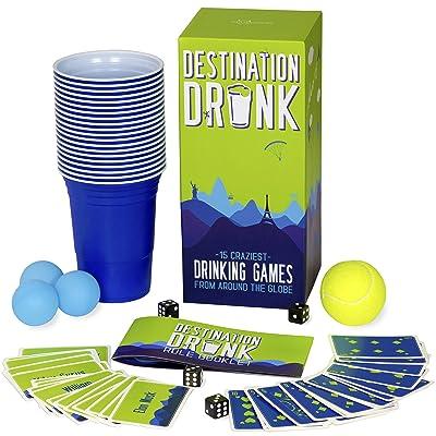 Gutter Games Destination Drunk - 15 Juegos de Beber más Locos de Todo el Mundo (Juegos de Fiesta para Adultos de Japón, Perú, Alemania, Rusia y más): Juguetes y juegos