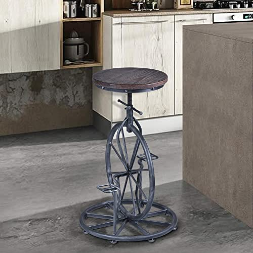 Armen Living Harlem Adjustable Barstool in Pine Wood and Industrial Grey Metal Finish