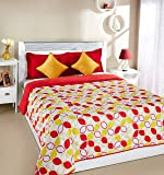 Amazon Brand - Solimo Arendale Microfibre Printed Quilt Blanket, Double, 120 GSM, Yellow and Red