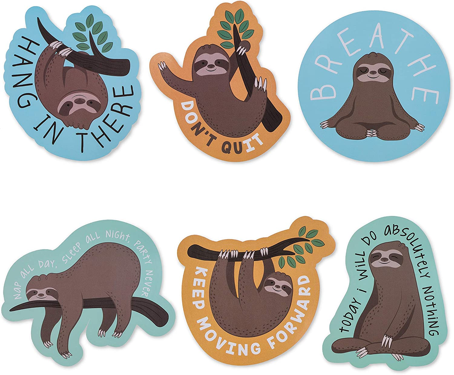 Sloth Meme Sticker Pack, Funny Quotes for Laptop, Cars, Water Bottle (6 Pack)