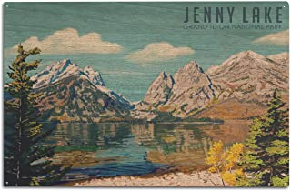 product image for Lantern Press Grand Teton National Park, Wyoming - Jenny Lake - Oil Painting 98025 (10x15 Wood Wall Sign, Wall Decor Ready to Hang)