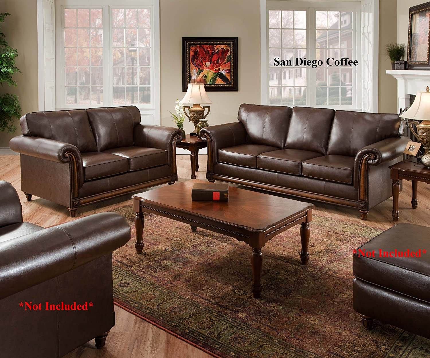 Amazon San Diego Coffee Leather Sofa & Loveseat Living Room