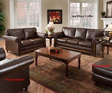Amazon.com: Simmons San Diego Coffee Leather Sofa & Loveseat Living ...