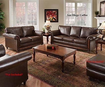 Amazon Com Simmons San Diego Coffee Leather Sofa Loveseat Living