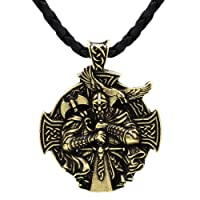 Detailed 3D Viking Warrior Sword and Axe - Protection Celtic Cross Steampunk Mjolnir Scandinavian Raven Runen Pagan Fenrir Nordic Pendant NECKLACE - Stainless Steel Chain Bronze Leather