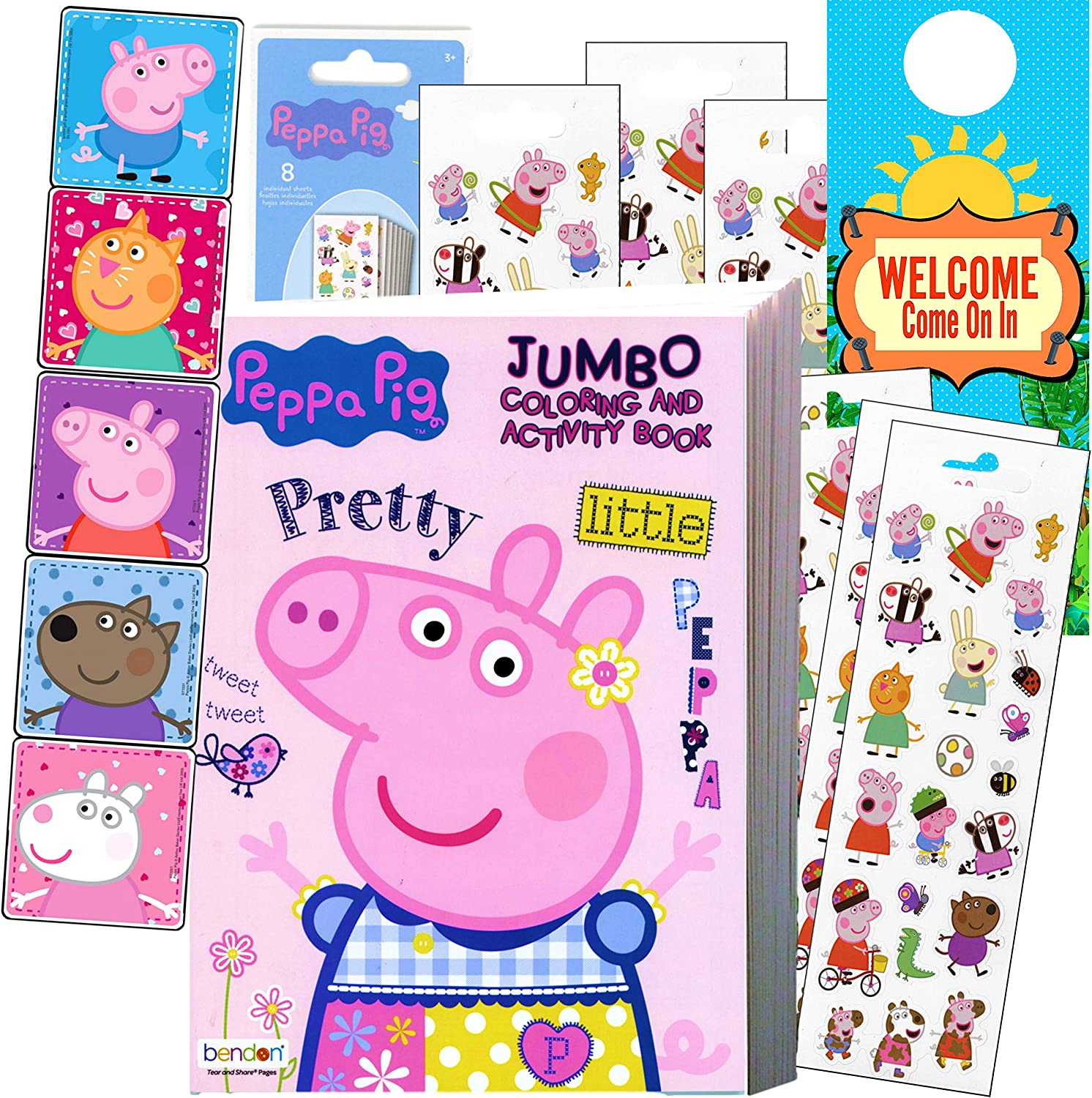 Coloring and Activity Set - Bundle Includes Peppa Pig Coloring Book, Peppa Pig Stickers, and 2-Sided Door Hanger (Peppa Coloring Book & Stickers)