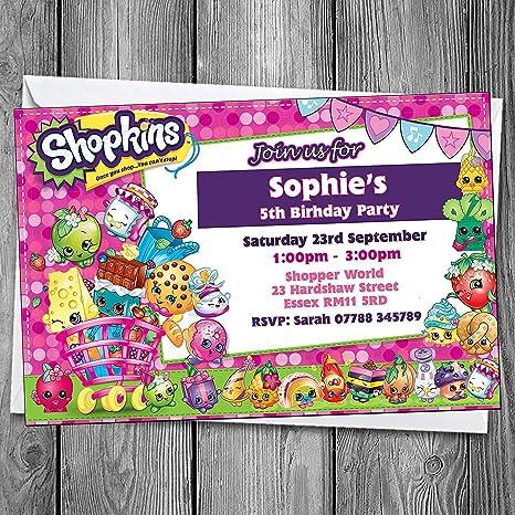 Shopkins Invita Invitaciones Fiesta De Cumpleaños Y Sobres