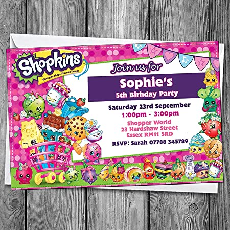 shopkins invites personalised birthday party invitations envelopes