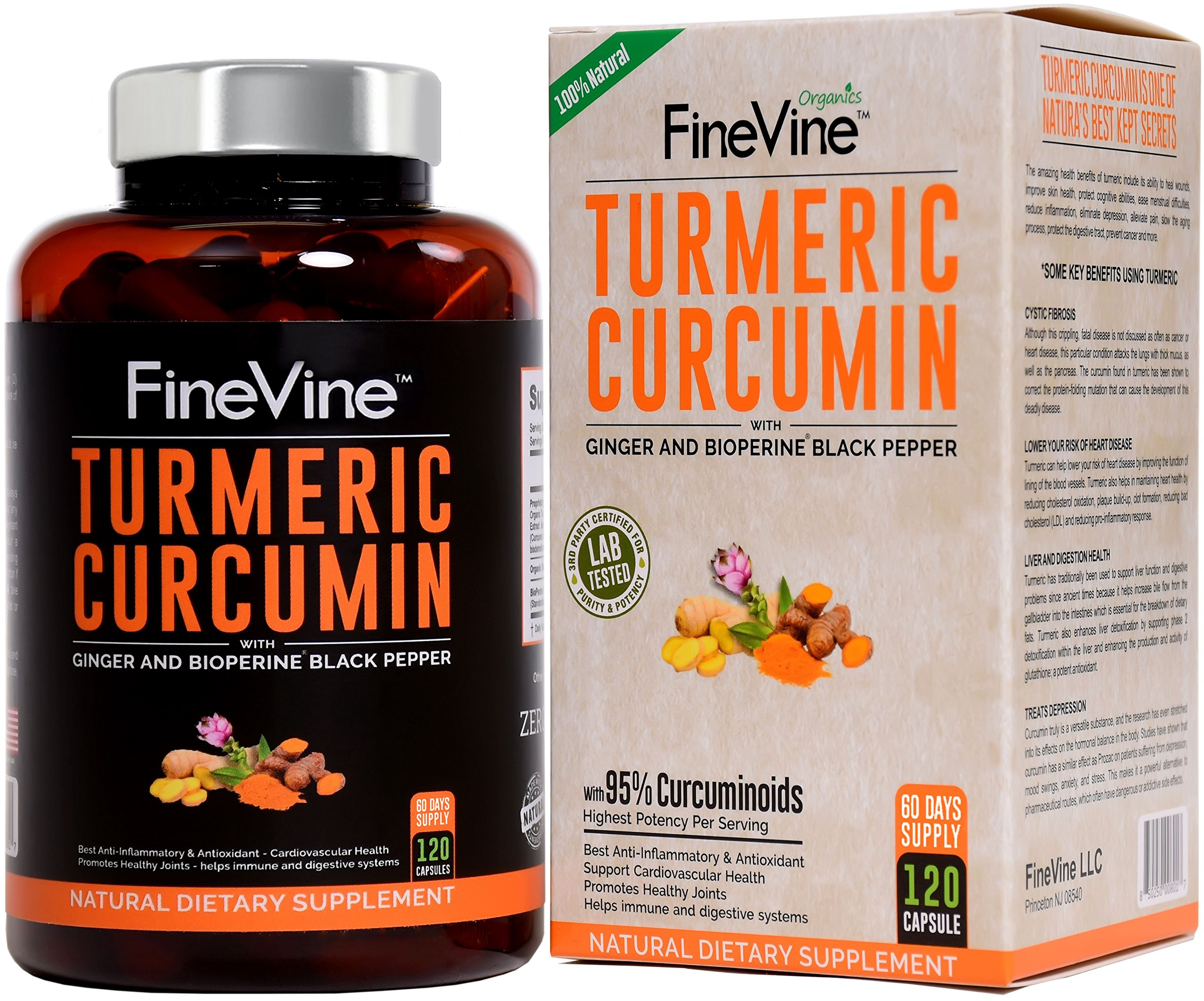 Turmeric Curcumin with BioPerine Black Pepper and Ginger - Made in USA - 120 Vegetarian Capsules for Advanced Absorption, Cardiovascular Health, Joints Support and Anti Aging Supplement (120 Capsules) by FineVine