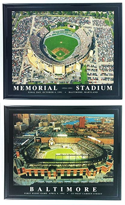 beb6419d3a9 Framed Baltimore Orioles Memorial Stadium and Camden Yards Aerial Prints  (Set of 2)