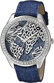 GUESS Womens U0504L1 Iconic Blue Denim Silver-Tone Watch with Wold Map