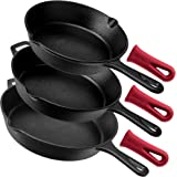 "Cuisinel Cast Iron Skillet Set - 3-Piece: 8"" + 10"" + 12""-Inch Chef Frying Pans - Pre-Seasoned Oven Safe Cookware + 3 Heat-Res"