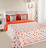 Amazon Brand - Solimo Victoria Microfibre Printed Quilt Blanket, Double, 120 GSM, Orange