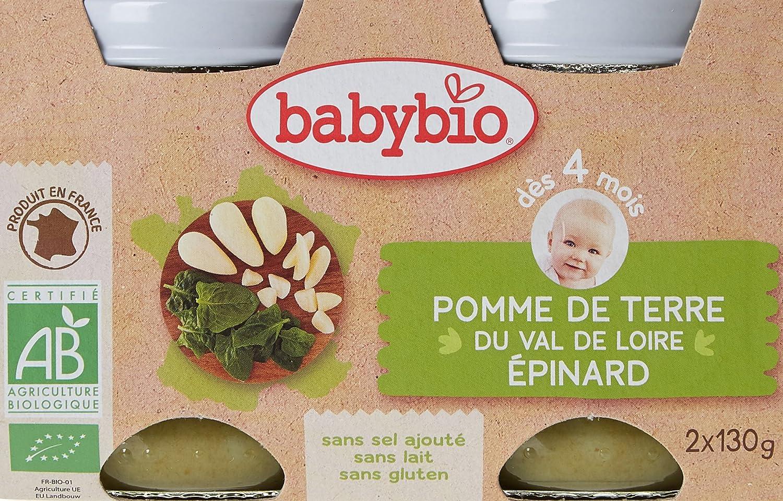 Babybio Pots Pomme de Terre du Val de Loire Epinard 260 g - Lot de 6 51045 alimentation bébé diversification