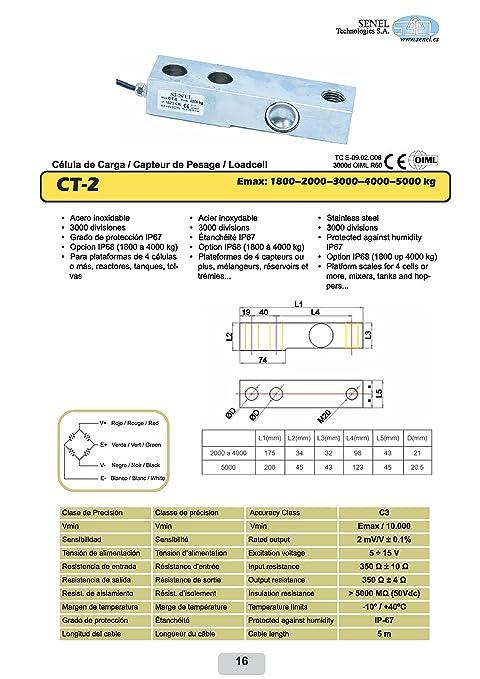 Célula de carga CT2 3000 acero inoxidable 0 A 3000 kg IP68 Micro láser totalmente soldada: Amazon.es: Industria, empresas y ciencia