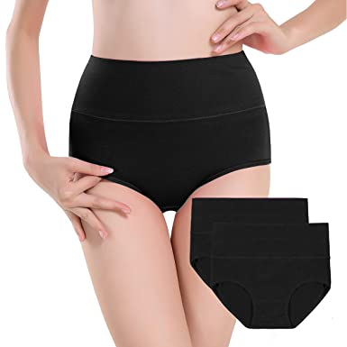 f096b4c5ea60 Annenmy Women's 2 Pack High Waist Cotton Underwear Solid Color Briefs  Panties for Women (Small