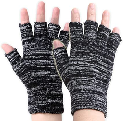 BE/_ Adults Mens Winter Half Finger Gloves Plain Thermal Knitted  Fingerless Nove