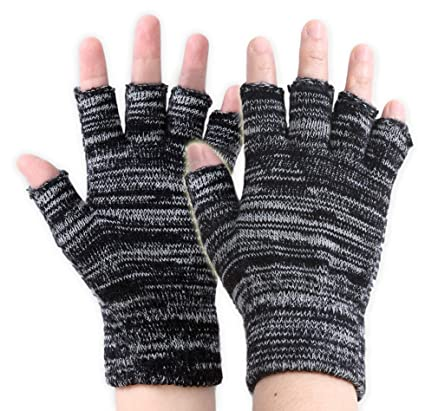 Back To Search Resultsapparel Accessories The Best 1 Pair Mens Winter Gloves Black Breathable Fingerless Half Thermal Gloves High Quality Adults One Size Stretch Warm Gloves In Short Supply
