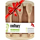 Coolinary Wooden Kitchen Utensil Set and Cutting Board, Ideal Christmas Gift, Wedding, House Warming or Birthday Gift, Thick and Sturdy Bamboo Chopping Board with Groove, Wooden Fork
