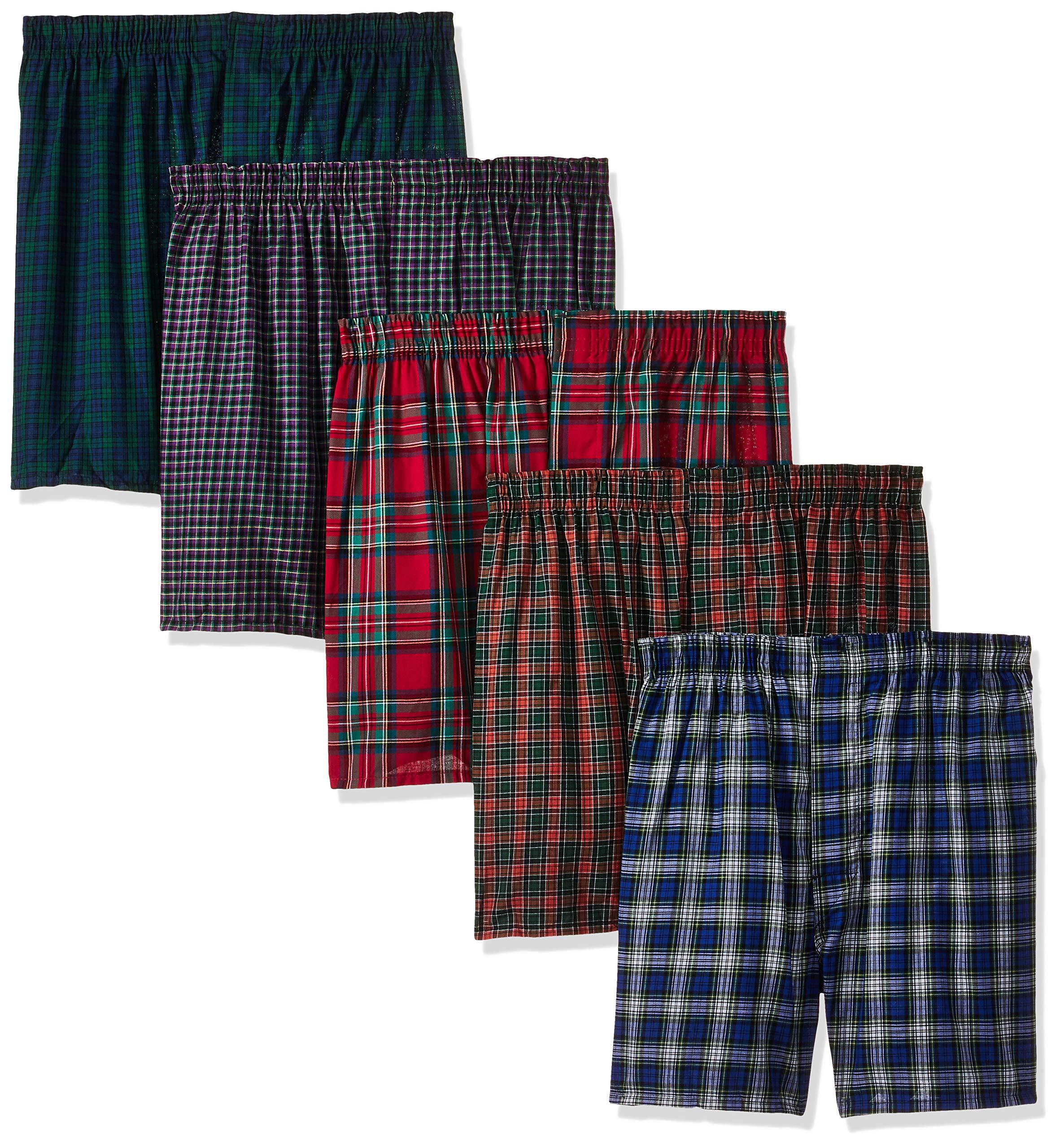 Hanes Ultimate Men's Tartan Premium 5-Pack Cotton Plush Waistband Boxers