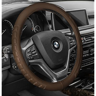 FH Group FH2006TAN Steering Wheel Cover (Microfiber Embossed Leather Tan): Automotive