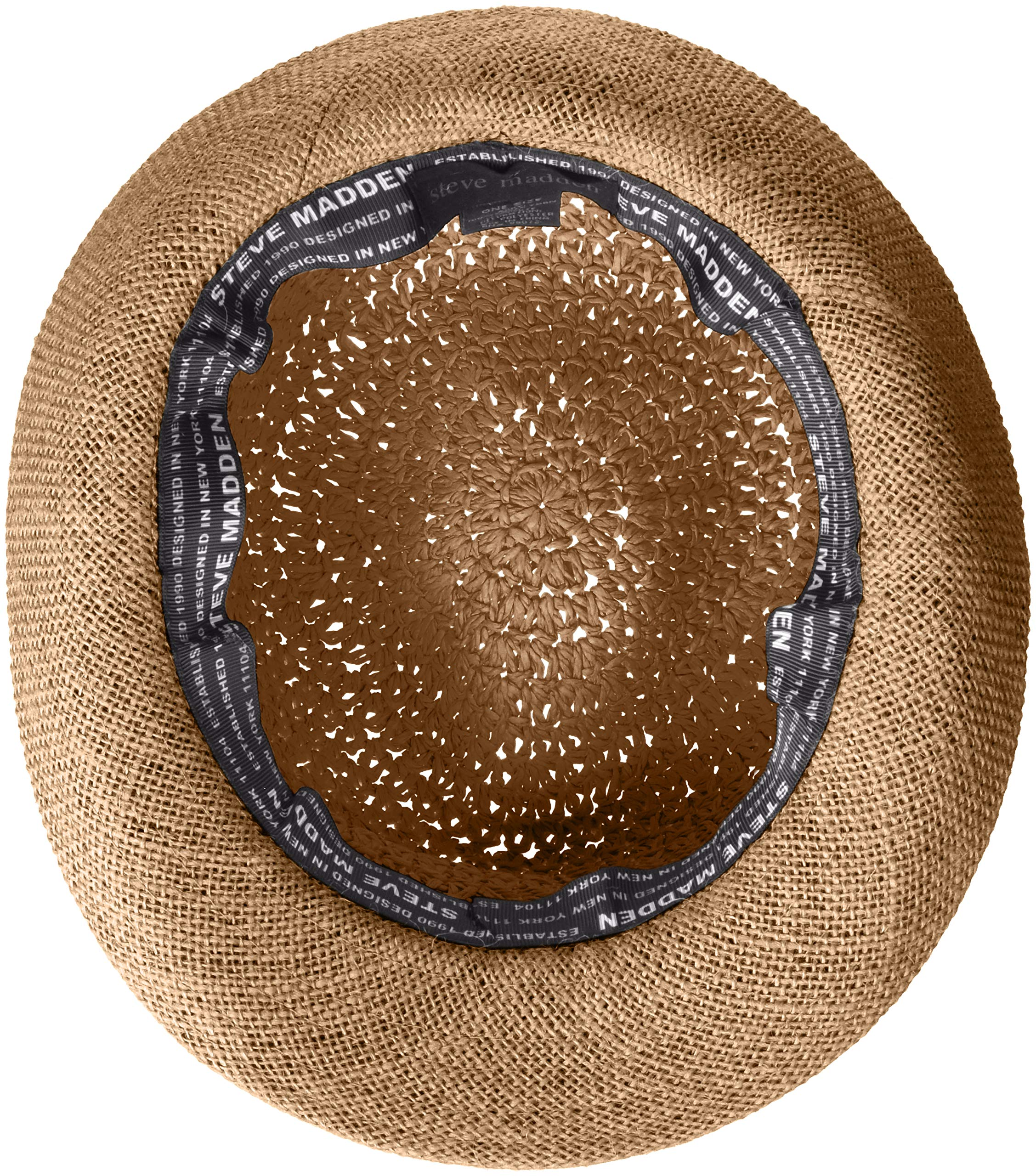 Steve Madden Women's Paper Crochet & Jute Short Brim Fedora with Two Tone Band, Navy One Size by Steve Madden (Image #3)