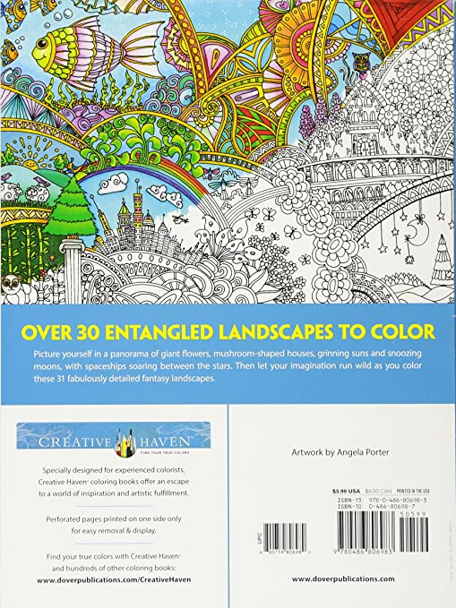Creative Haven Insanely Intricate Entangled Landscapes Coloring Book Books Angela Porter Amazoncouk Kitchen Home