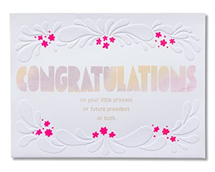 american greetings amazing new baby girl congratulations card with flocking 5856662