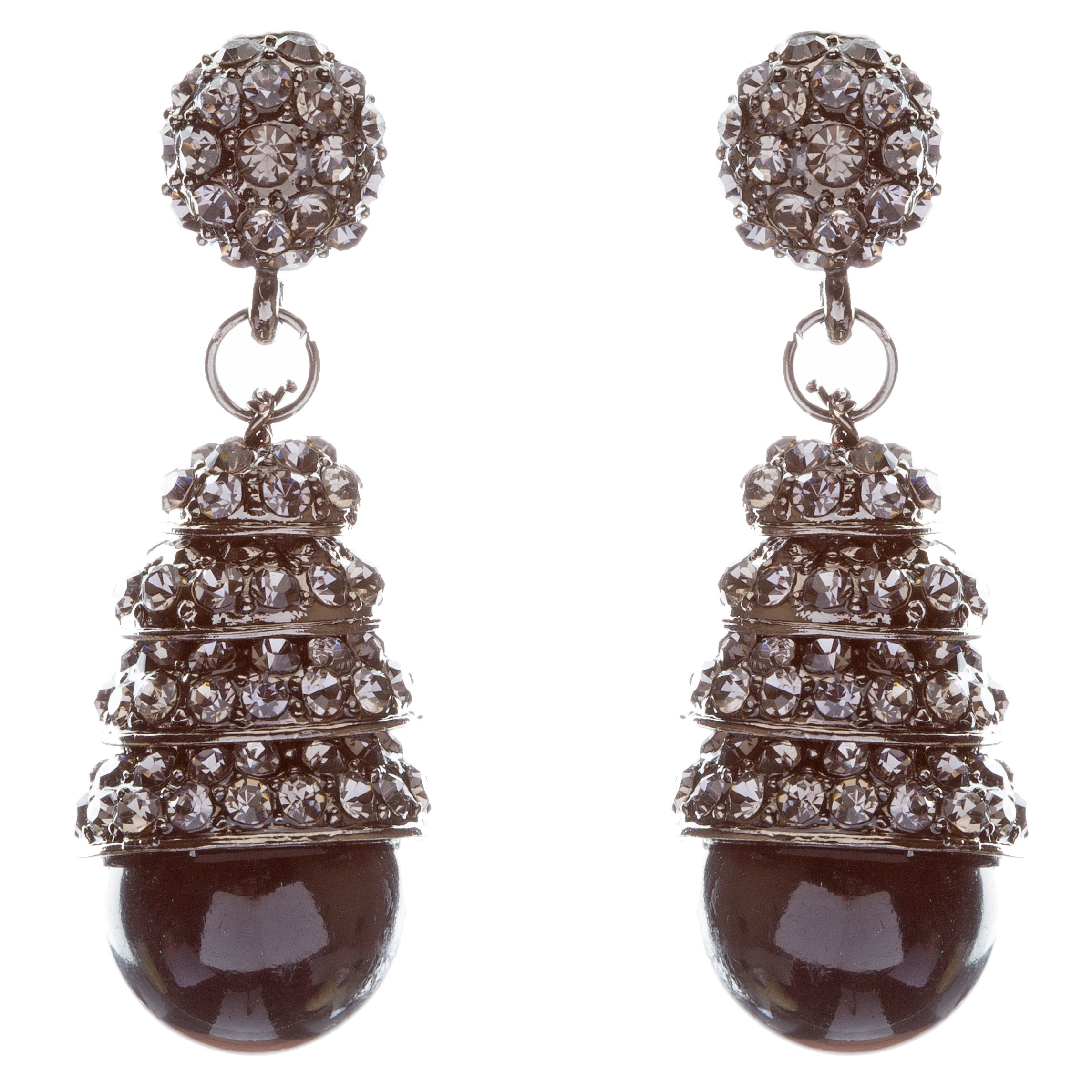 ACCESSORIESFOREVER Sophisticated Elegant Crystal Rhinestone Dangle Fashion Earrings E325 Black