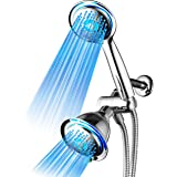 DreamSpa All Chrome 3-way LED Shower Head Combo with Air Jet LED Turbo Pressure-Boost Nozzle Technology. Color of LED lights