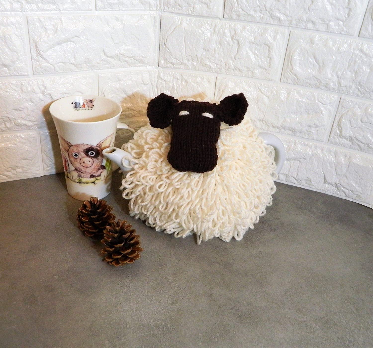 Hand Knitted Sheep Tea Cozy in loop stitch, fits 2 - 4 cup tea pot