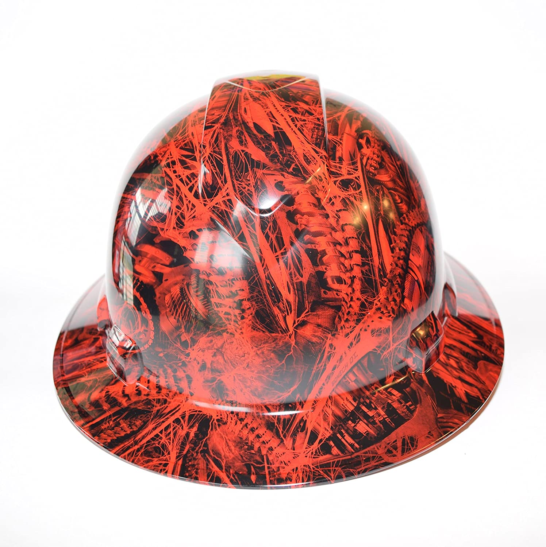 Custom ridgeline wide brim hard hat osha hydro dipped in red biomechanics amazon com