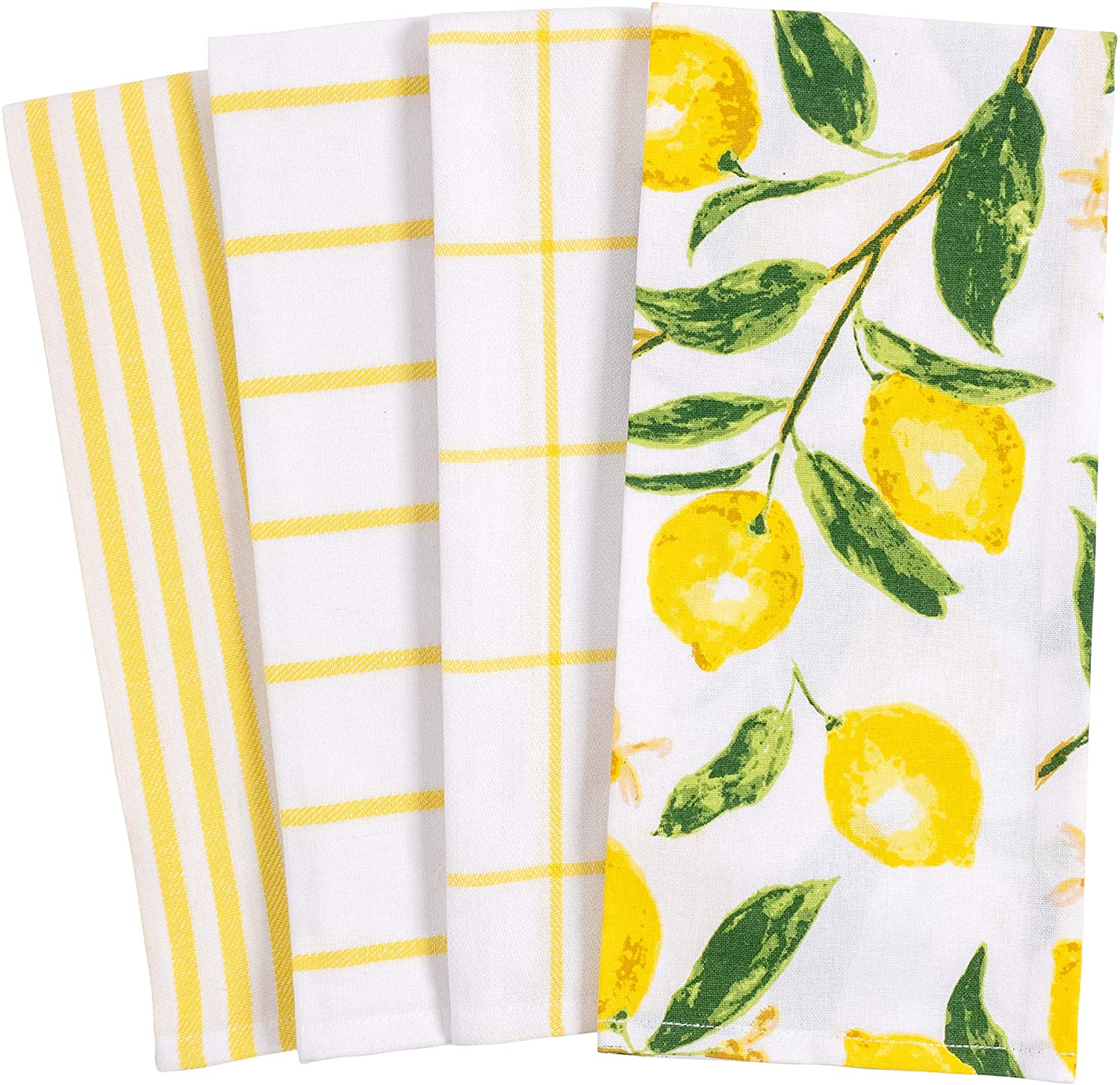 Lemon yellow and white dishtowels