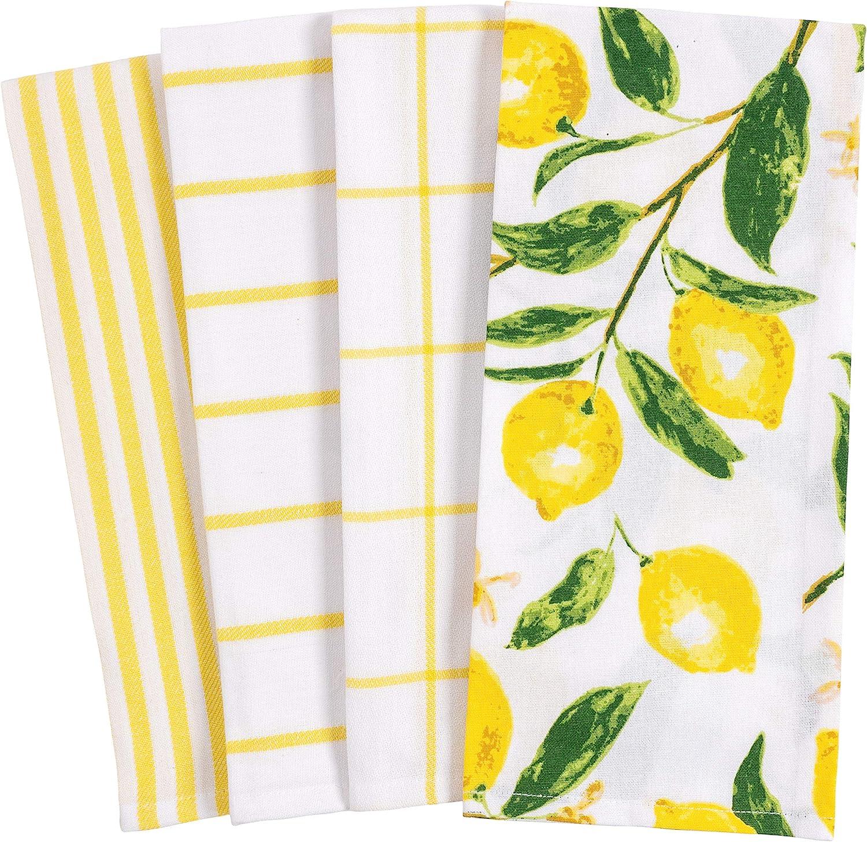 Lemon yellow and white dishtowels