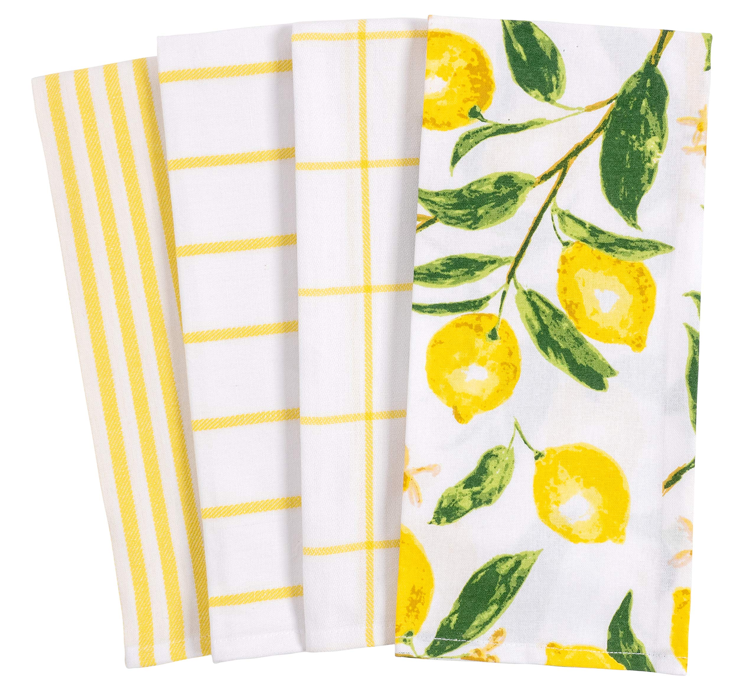 KAF Home Pantry Lemons All Over Kitchen Dish Towel Set of 4, 100-Percent Cotton, 18 x 28-inch by KAF Home