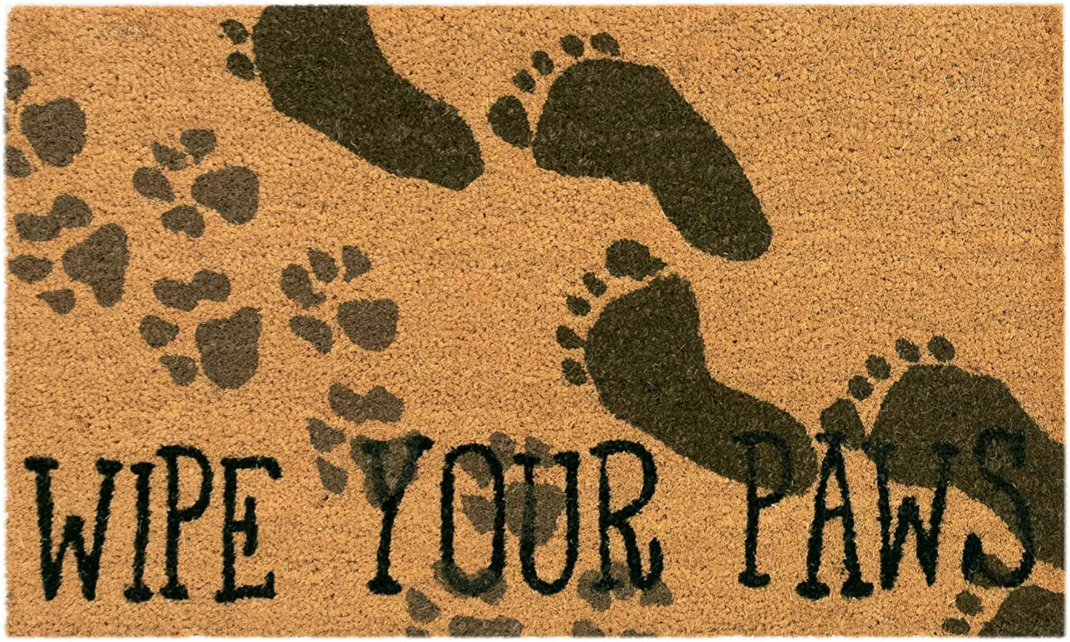 Liora Manne Natura Cute Dogs Wipe Your Paws Natural Outdoor Welcome Coir Door Mat, 2' x 3'