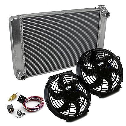 """28x19x2.2 fits Ford Mopar Satin Aluminum Radiator /& Dual 10/"""" Thermo Fan Kit"""