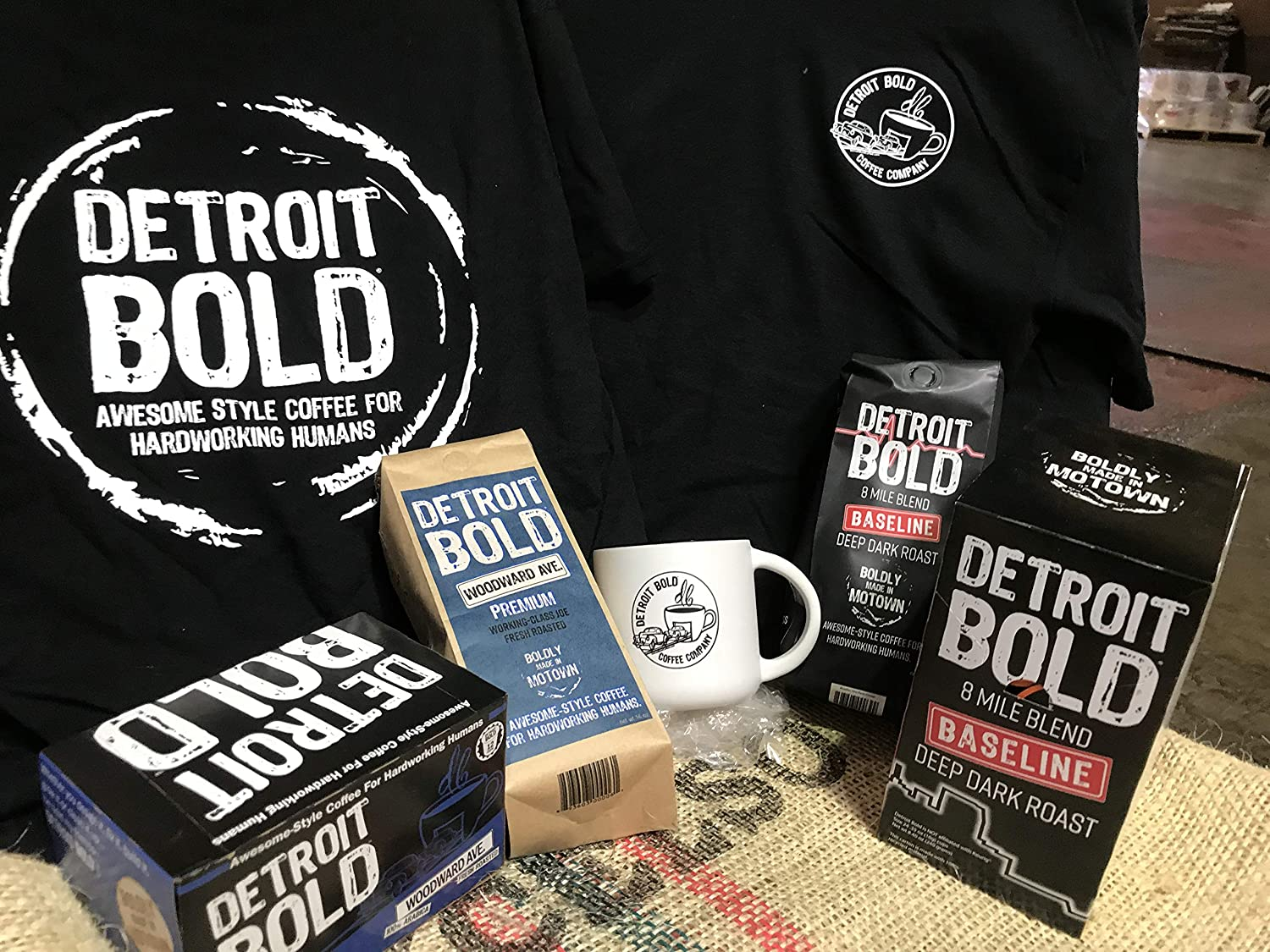 ULTIMATE COFFEE DRINKER GIFT SET - Two 16oz Bags Ground Coffee, Two K-Cup Style Boxes, Detroit Bold T-Shirt, Detroit Bold Coffee Mugs, Perfect Office Gift, Holiday Gift, Christmas Gift, Birthday Gift