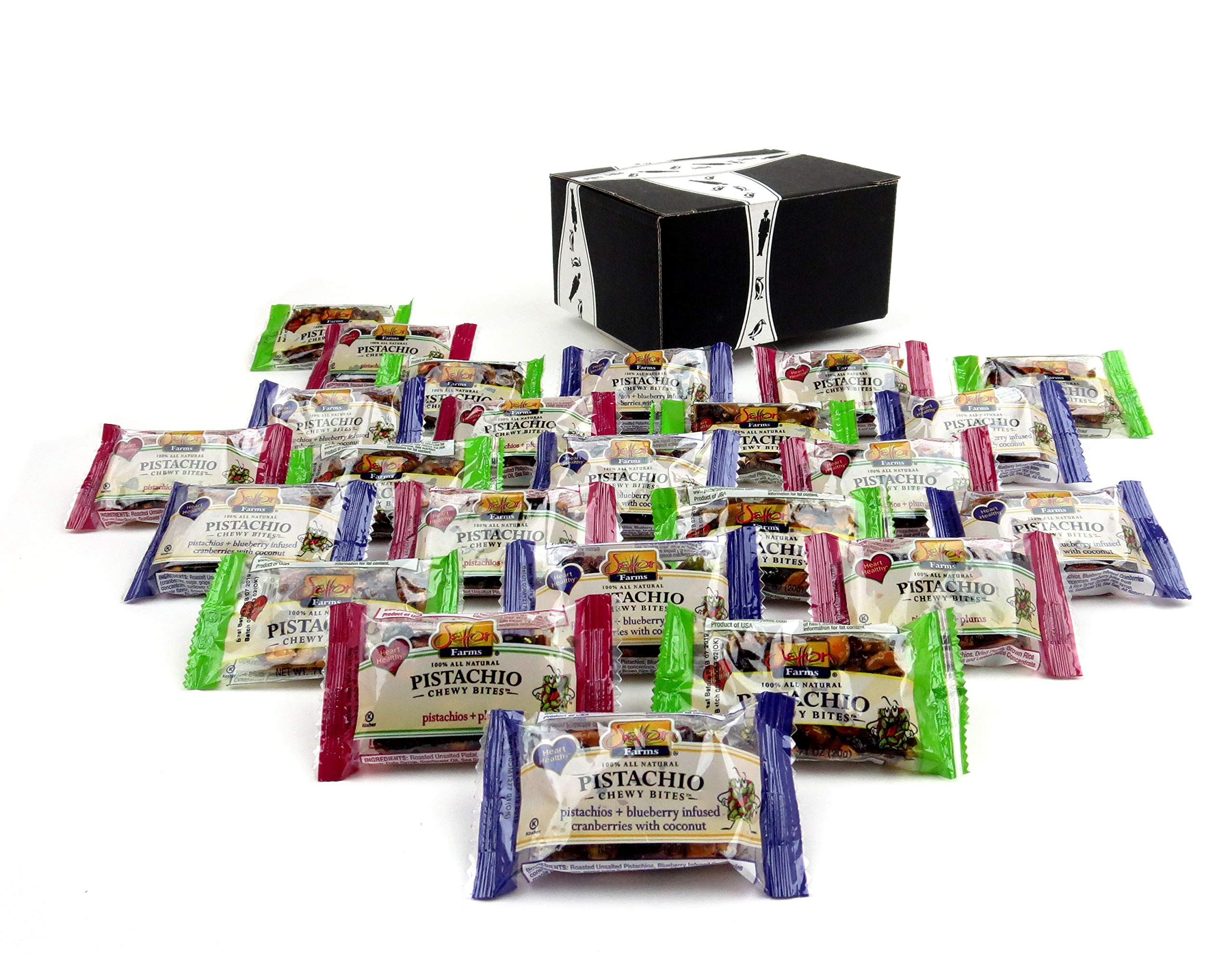 Setton Farms Pistachio Chewy Bites 3-Flavor Variety: Eight 0.71 oz Packages Each of Original, Plum, and Blueberry Infused Cranberry in a BlackTie Box (24 Items Total)